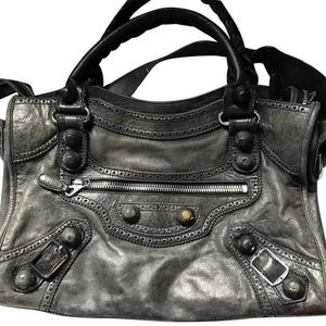 BALENCIAGA Charcoal Grey Motorcycle City Bag Msrp